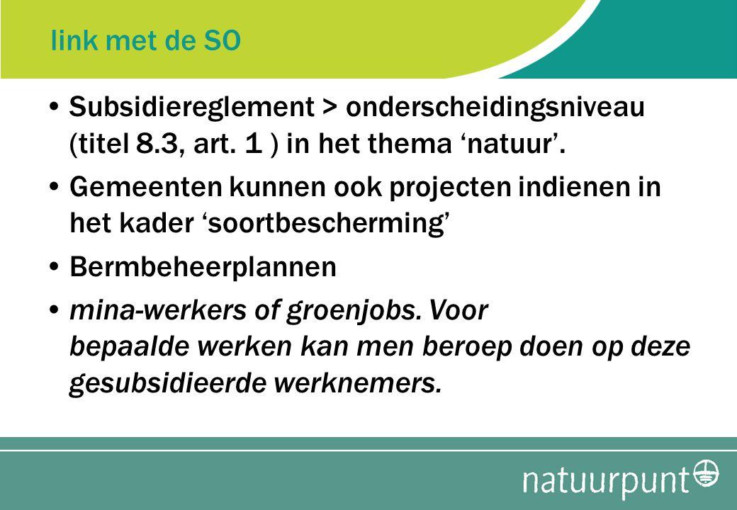 link met de SO Subsidiereglement > onderscheidingsniveau (titel 8.3, art.