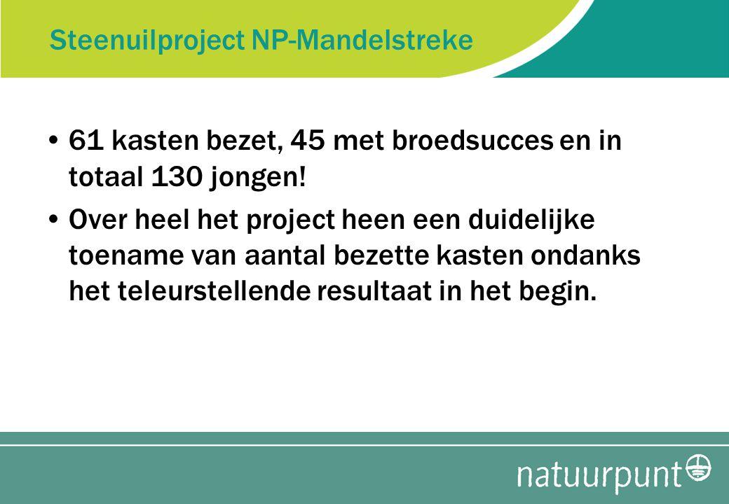 Steenuilproject NP-Mandelstreke 61 kasten bezet, 45 met broedsucces en in totaal 130 jongen.