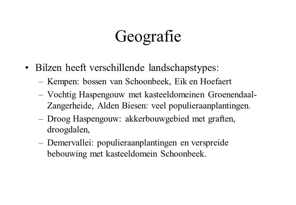 Geografie Bilzen heeft verschillende landschapstypes: –Kempen: bossen van Schoonbeek, Eik en Hoefaert –Vochtig Haspengouw met kasteeldomeinen Groenendaal- Zangerheide, Alden Biesen: veel populieraanplantingen.