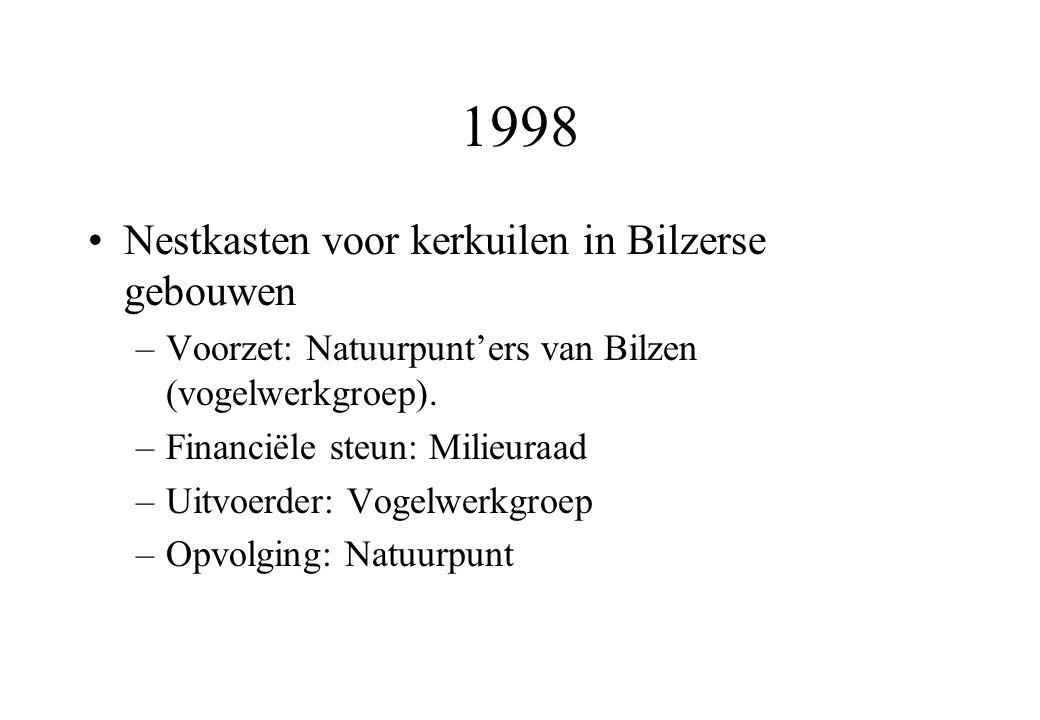 1998 Nestkasten voor kerkuilen in Bilzerse gebouwen –Voorzet: Natuurpunt'ers van Bilzen (vogelwerkgroep).