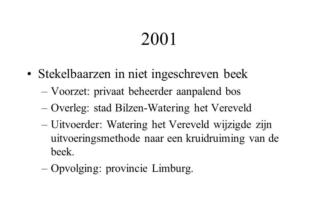 2001 Stekelbaarzen in niet ingeschreven beek –Voorzet: privaat beheerder aanpalend bos –Overleg: stad Bilzen-Watering het Vereveld –Uitvoerder: Watering het Vereveld wijzigde zijn uitvoeringsmethode naar een kruidruiming van de beek.