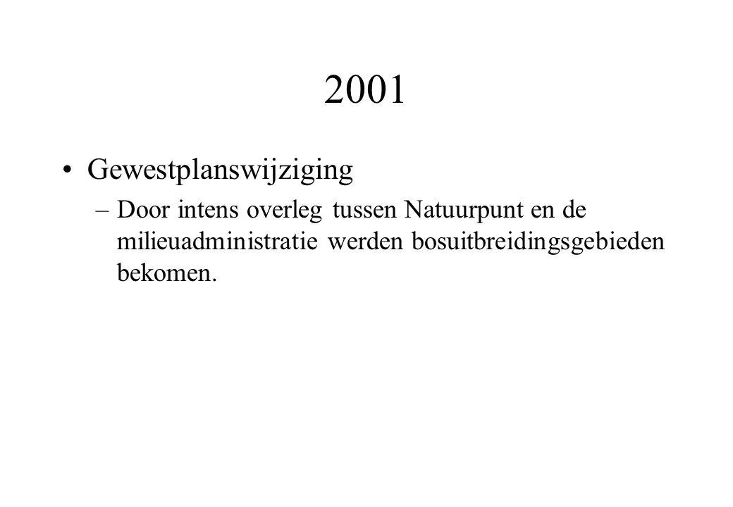 2001 Gewestplanswijziging –Door intens overleg tussen Natuurpunt en de milieuadministratie werden bosuitbreidingsgebieden bekomen.