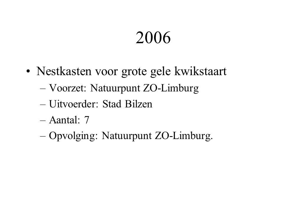 2006 Nestkasten voor grote gele kwikstaart –Voorzet: Natuurpunt ZO-Limburg –Uitvoerder: Stad Bilzen –Aantal: 7 –Opvolging: Natuurpunt ZO-Limburg.