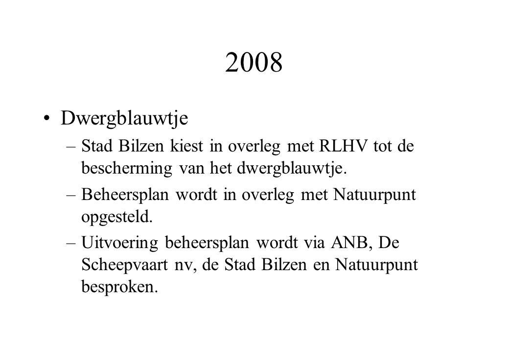 2008 Dwergblauwtje –Stad Bilzen kiest in overleg met RLHV tot de bescherming van het dwergblauwtje.