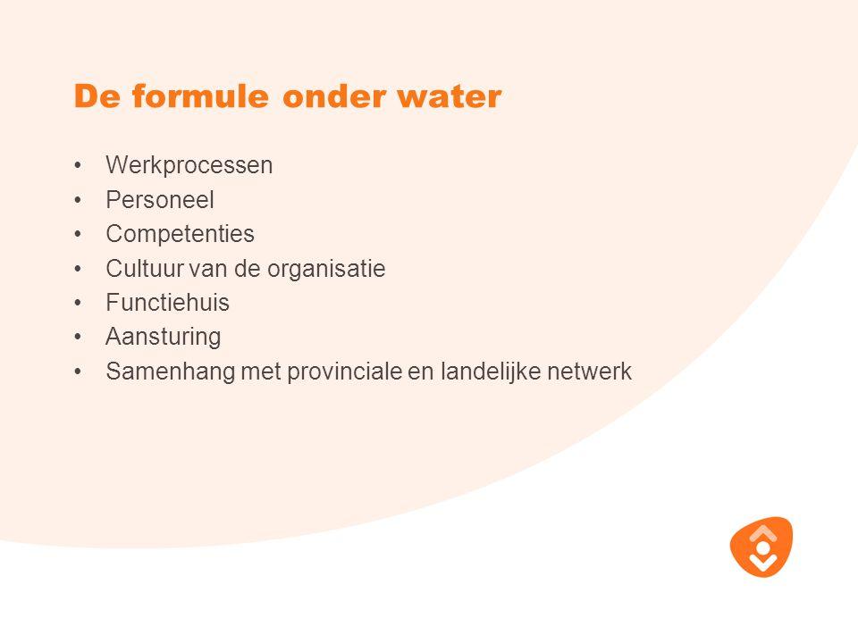 De formule onder water Werkprocessen Personeel Competenties Cultuur van de organisatie Functiehuis Aansturing Samenhang met provinciale en landelijke netwerk