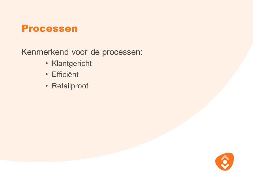 Processen Kenmerkend voor de processen: Klantgericht Efficiënt Retailproof