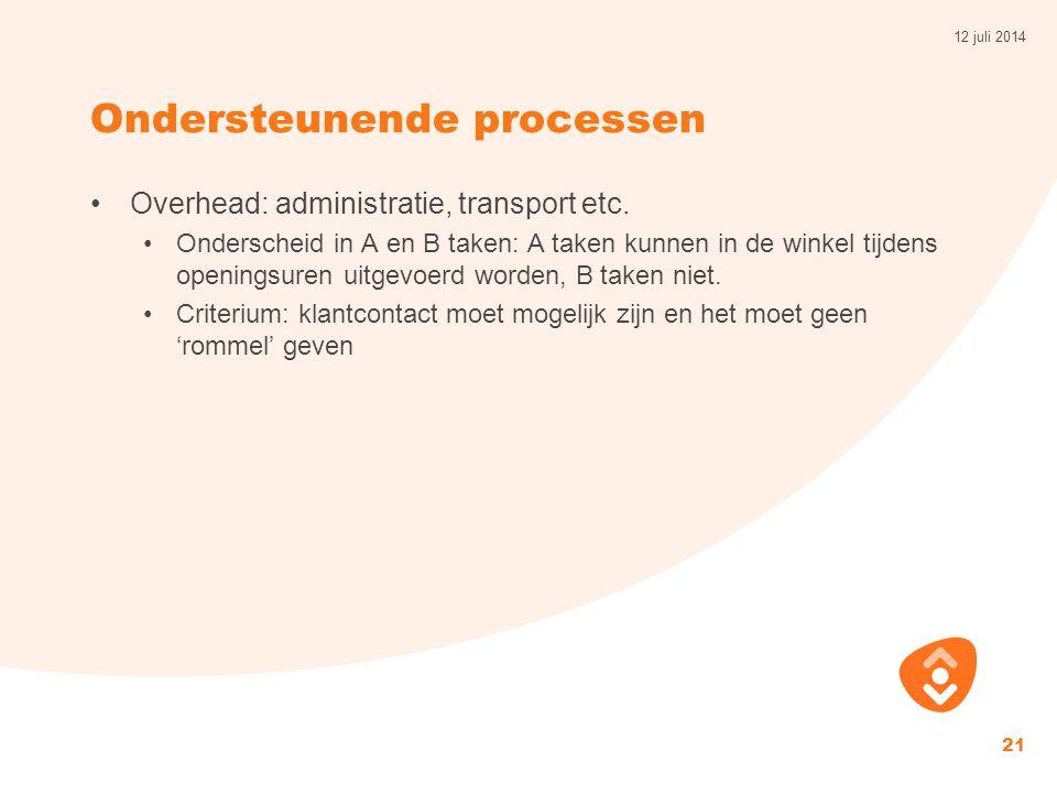 Ondersteunende processen Overhead: administratie, transport etc.