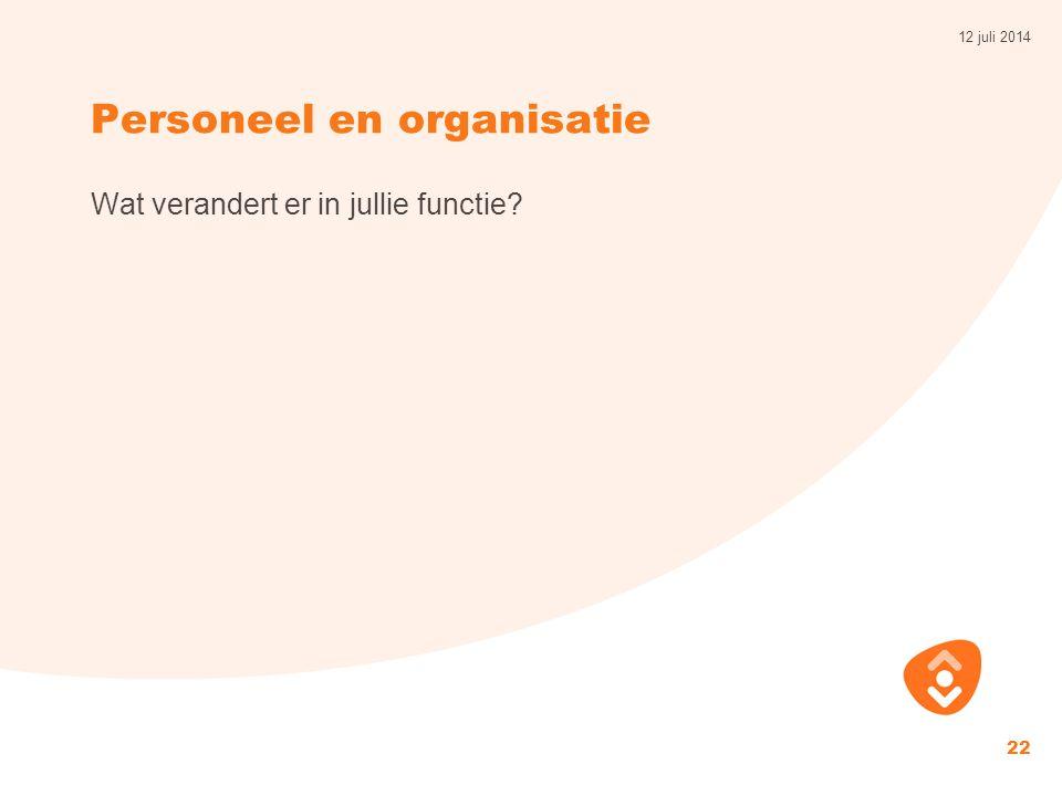 Personeel en organisatie Wat verandert er in jullie functie? 12 juli 2014 22