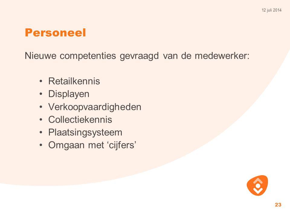 Personeel Nieuwe competenties gevraagd van de medewerker: Retailkennis Displayen Verkoopvaardigheden Collectiekennis Plaatsingsysteem Omgaan met 'cijfers' 12 juli 2014 23