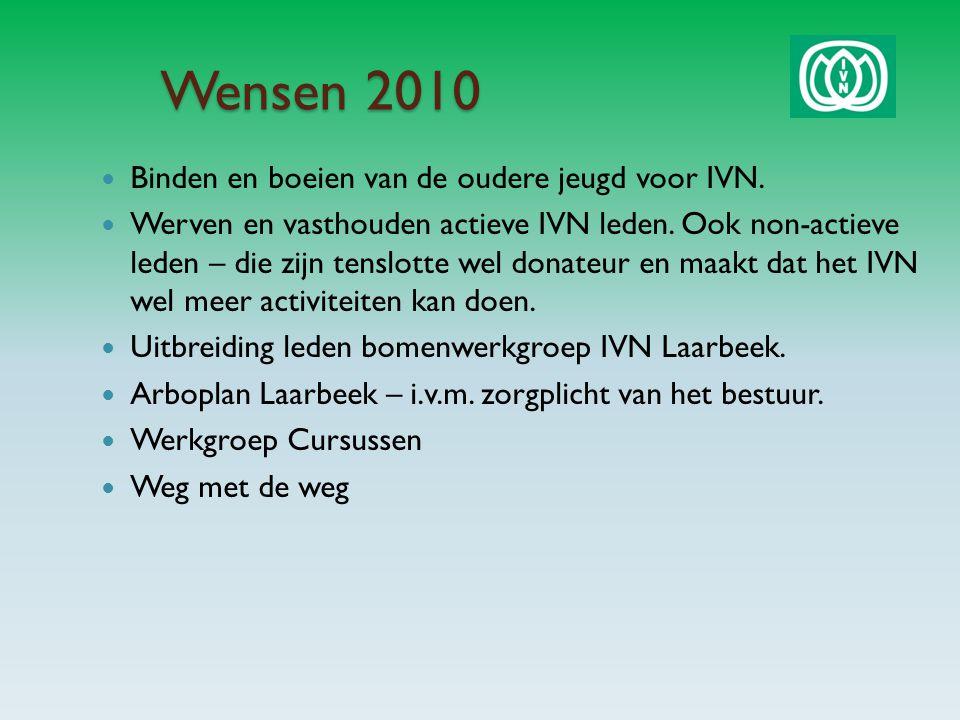 Wensen 2010 Binden en boeien van de oudere jeugd voor IVN.