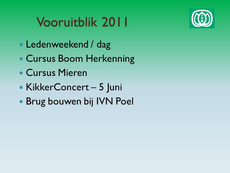 Vooruitblik 2011 Ledenweekend / dag Cursus Boom Herkenning Cursus Mieren KikkerConcert – 5 Juni Brug bouwen bij IVN Poel