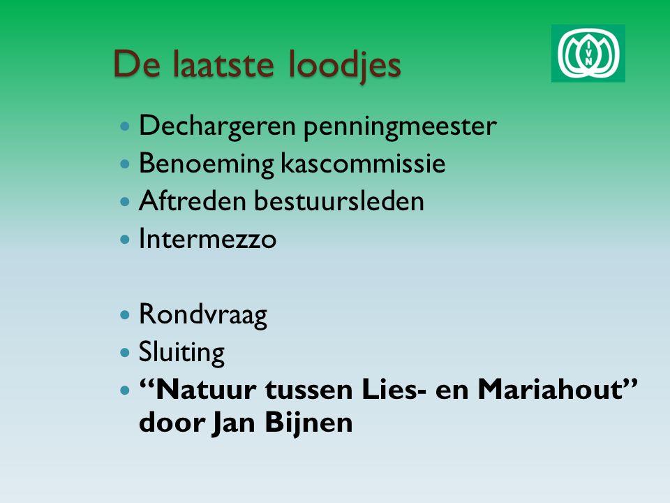 De laatste loodjes Dechargeren penningmeester Benoeming kascommissie Aftreden bestuursleden Intermezzo Rondvraag Sluiting Natuur tussen Lies- en Mariahout door Jan Bijnen