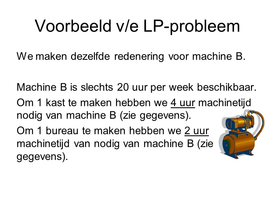Voorbeeld v/e LP-probleem We maken dezelfde redenering voor machine B.
