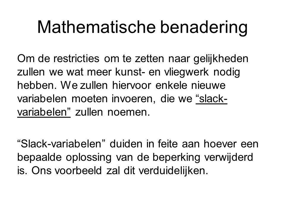 Mathematische benadering Om de restricties om te zetten naar gelijkheden zullen we wat meer kunst- en vliegwerk nodig hebben.