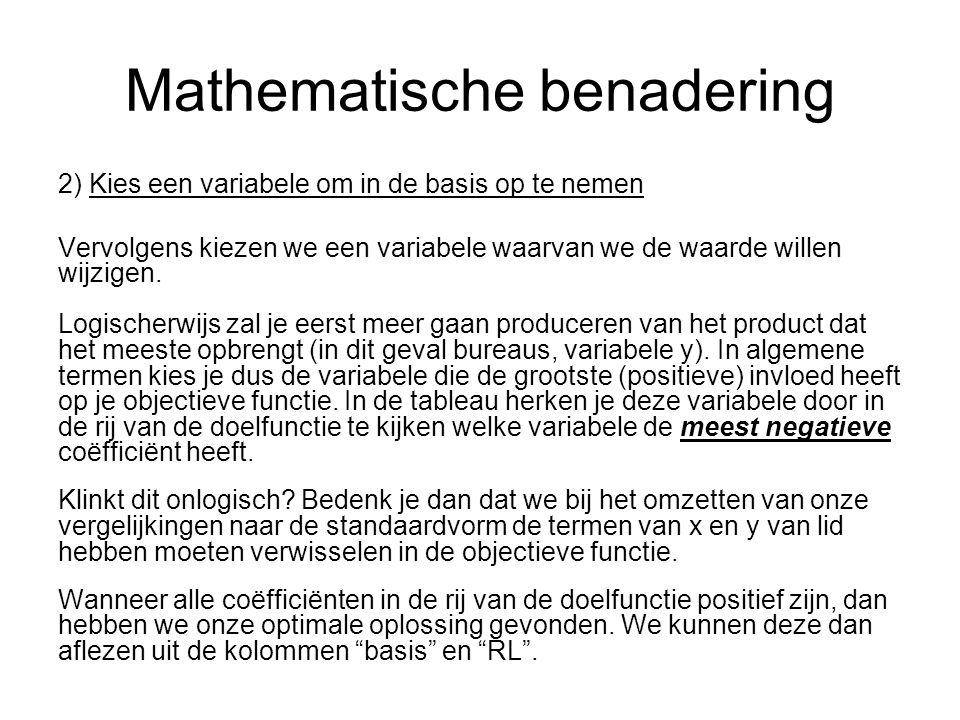 Mathematische benadering 2) Kies een variabele om in de basis op te nemen Vervolgens kiezen we een variabele waarvan we de waarde willen wijzigen.
