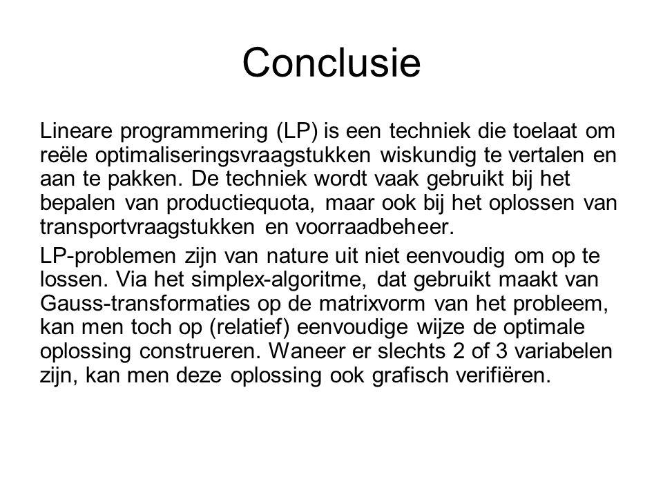 Conclusie Lineare programmering (LP) is een techniek die toelaat om reële optimaliseringsvraagstukken wiskundig te vertalen en aan te pakken.