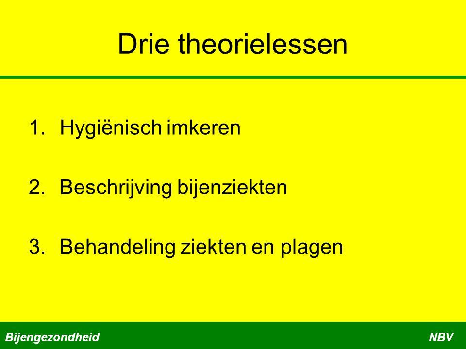 Drie theorielessen 1.Hygiënisch imkeren 2.Beschrijving bijenziekten 3.Behandeling ziekten en plagen BijengezondheidNBV