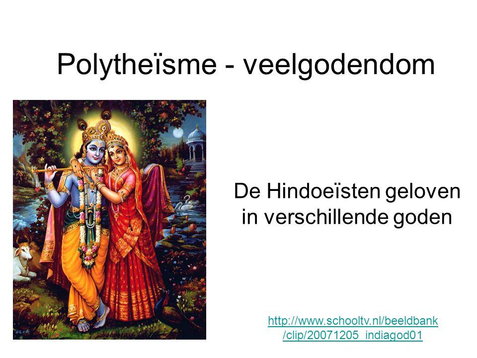 Polytheïsme - veelgodendom De Hindoeïsten geloven in verschillende goden http://www.schooltv.nl/beeldbank /clip/20071205_indiagod01