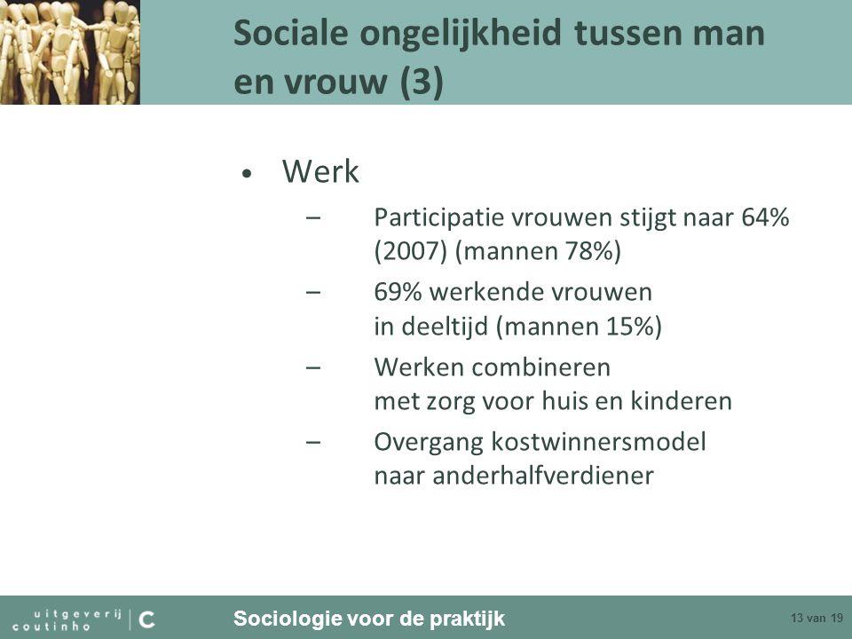 Sociologie voor de praktijk 13 van 19 Werk –Participatie vrouwen stijgt naar 64% (2007) (mannen 78%) –69% werkende vrouwen in deeltijd (mannen 15%) –W