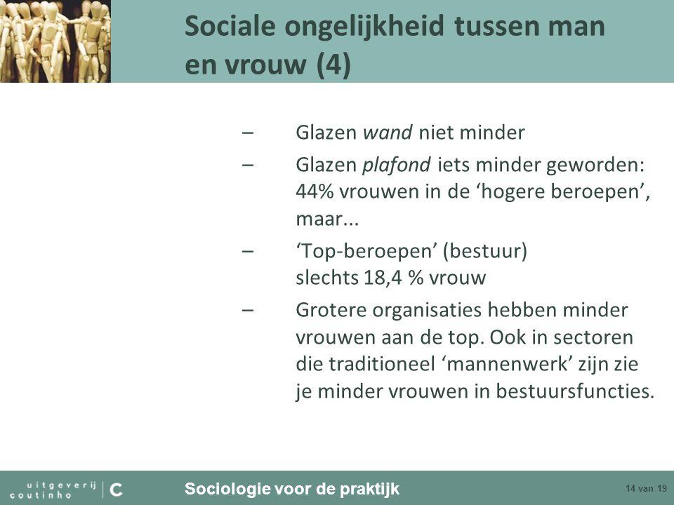 Sociologie voor de praktijk 14 van 19 –Glazen wand niet minder –Glazen plafond iets minder geworden: 44% vrouwen in de 'hogere beroepen', maar... –'To