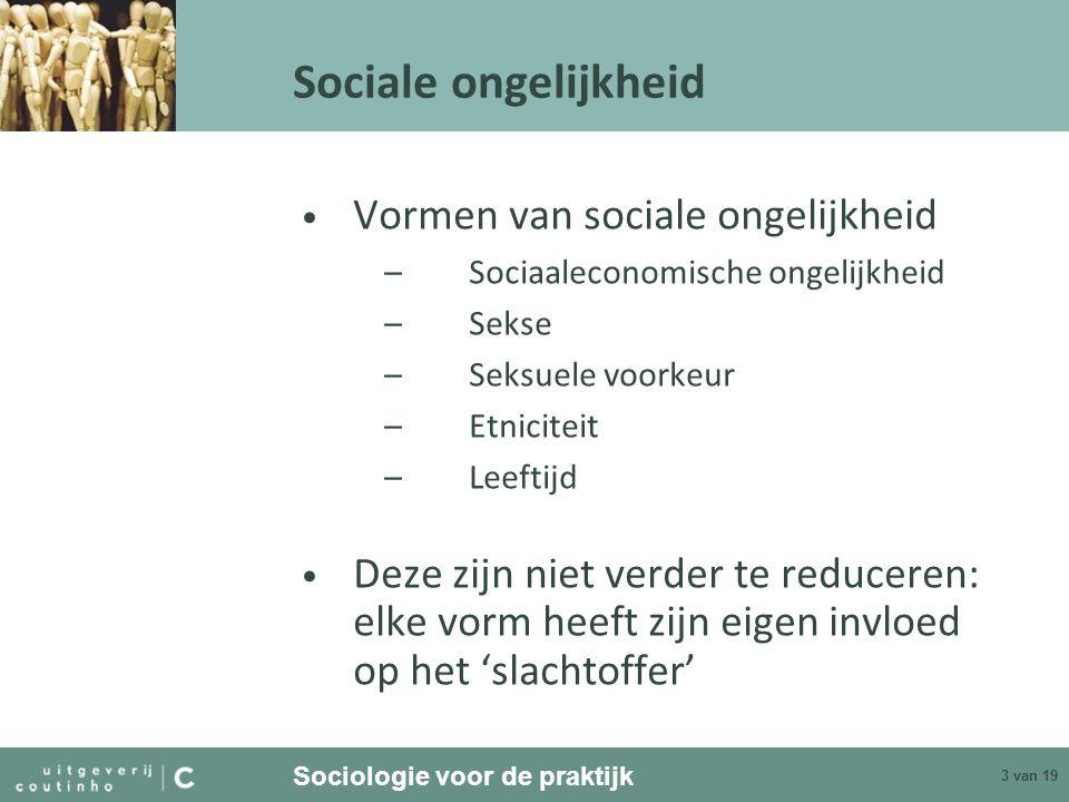 Sociologie voor de praktijk 3 van 19 Sociale ongelijkheid Vormen van sociale ongelijkheid –Sociaaleconomische ongelijkheid –Sekse –Seksuele voorkeur –