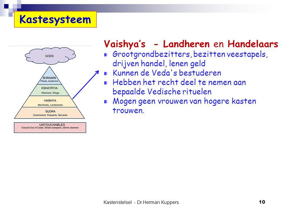 Kastenstelsel - Dr.Herman Kuppers 10 Vaishya's - Landheren en Handelaars Grootgrondbezitters, bezitten veestapels, drijven handel, lenen geld Kunnen d