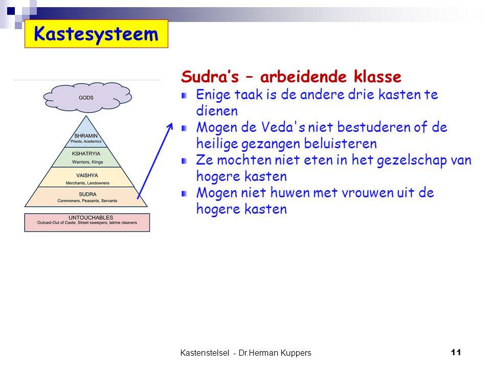Kastenstelsel - Dr.Herman Kuppers 11 Sudra's – arbeidende klasse Enige taak is de andere drie kasten te dienen Mogen de Veda's niet bestuderen of de h