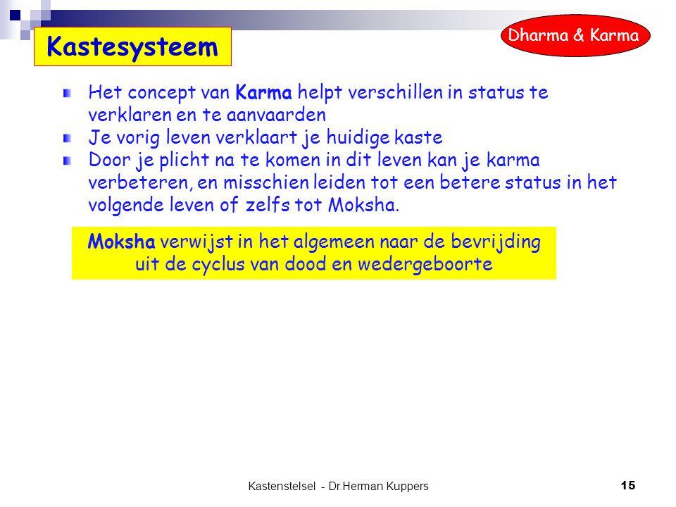 Kastenstelsel - Dr.Herman Kuppers 15 Het concept van Karma helpt verschillen in status te verklaren en te aanvaarden Je vorig leven verklaart je huidi