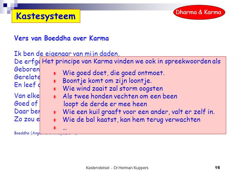Kastenstelsel - Dr.Herman Kuppers 16 Vers van Boeddha over Karma Ik ben de eigenaar van mijn daden, De erfgenaam van mijn daden, Geboren door mijn dad