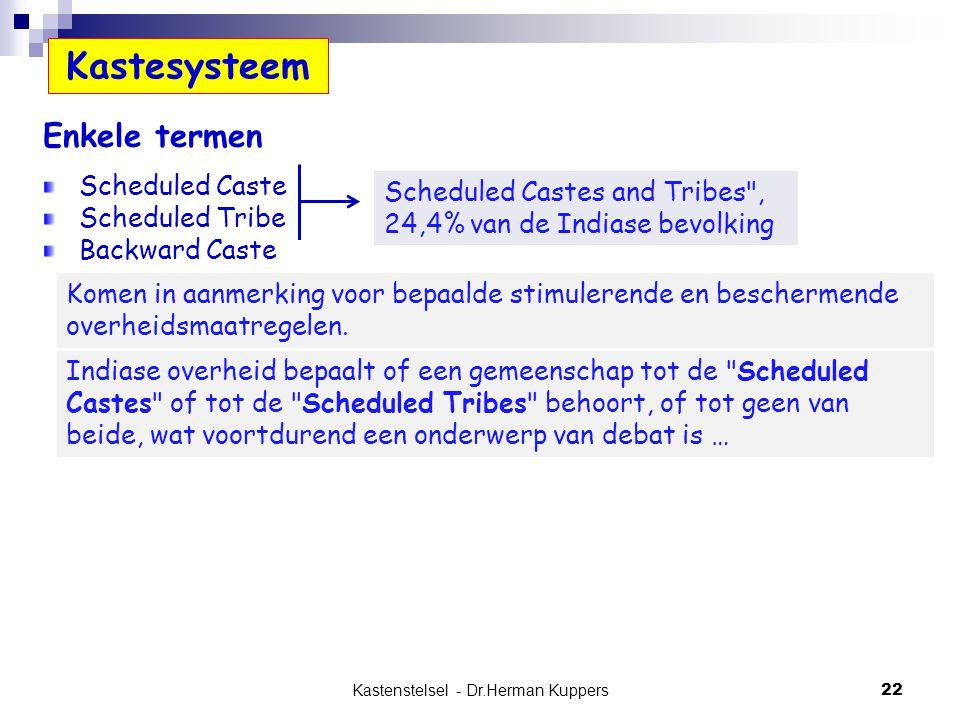 Kastenstelsel - Dr.Herman Kuppers 22 Kastesysteem Enkele termen Scheduled Caste Scheduled Tribe Backward Caste Scheduled Castes and Tribes