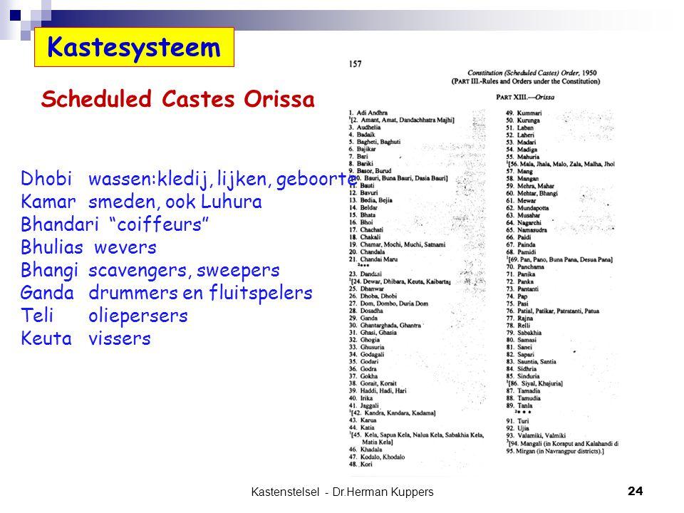 "Kastenstelsel - Dr.Herman Kuppers 24 Kastesysteem Scheduled Castes Orissa Dhobiwassen:kledij, lijken, geboorte Kamarsmeden, ook Luhura Bhandari ""coiff"