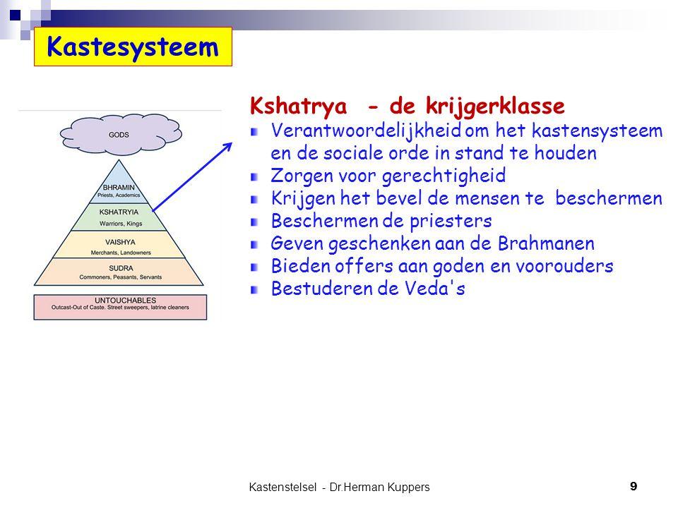Kastenstelsel - Dr.Herman Kuppers 9 Kshatrya - de krijgerklasse Verantwoordelijkheid om het kastensysteem en de sociale orde in stand te houden Zorgen