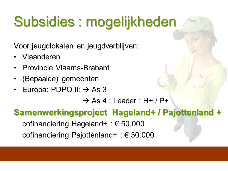 Subsidies : mogelijkheden Voor jeugdlokalen en jeugdverblijven: Vlaanderen Provincie Vlaams-Brabant (Bepaalde) gemeenten Europa: PDPO II:  As 3  As 4 : Leader : H+ / P+ Samenwerkingsproject Hageland+ / Pajottenland + cofinanciering Hageland+ : € 50.000 cofinanciering Pajottenland+ : € 30.000