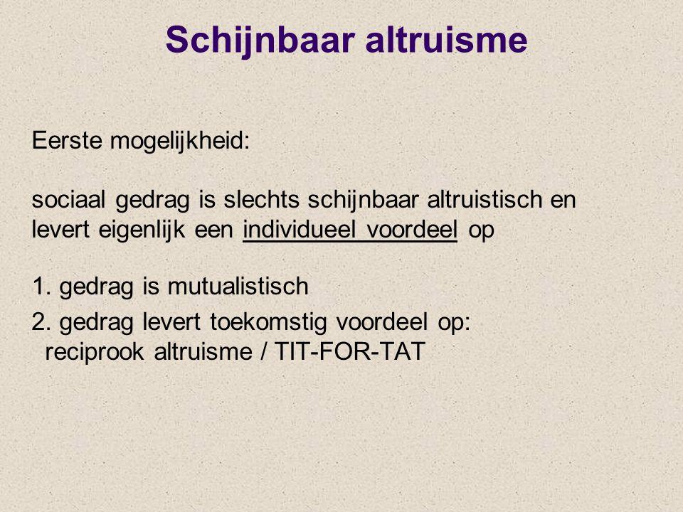 Schijnbaar altruisme Eerste mogelijkheid: sociaal gedrag is slechts schijnbaar altruistisch en levert eigenlijk een individueel voordeel op 1. gedrag
