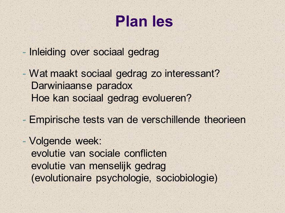 Plan les - Inleiding over sociaal gedrag - Wat maakt sociaal gedrag zo interessant? Darwiniaanse paradox Hoe kan sociaal gedrag evolueren? - Empirisch