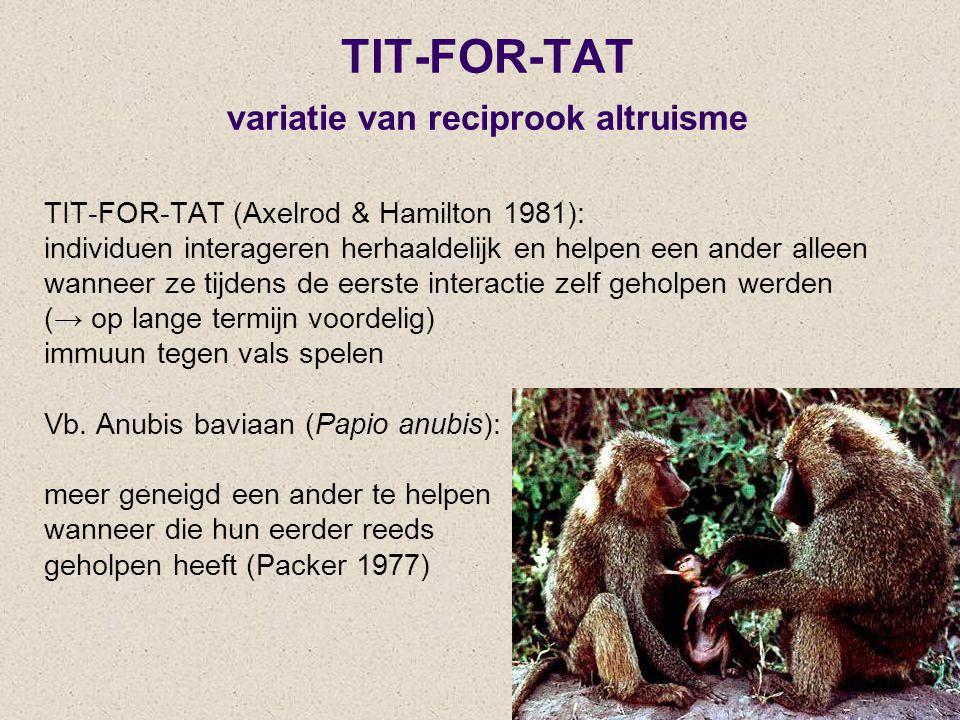 TIT-FOR-TAT variatie van reciprook altruisme TIT-FOR-TAT (Axelrod & Hamilton 1981): individuen interageren herhaaldelijk en helpen een ander alleen wa