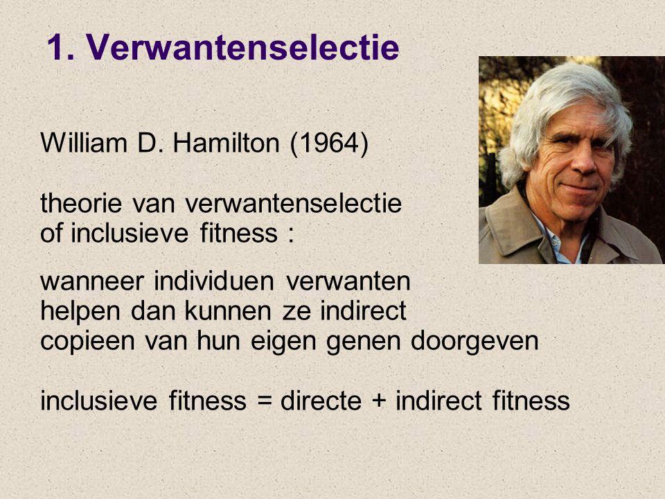 William D. Hamilton (1964) theorie van verwantenselectie of inclusieve fitness : wanneer individuen verwanten helpen dan kunnen ze indirect copieen va