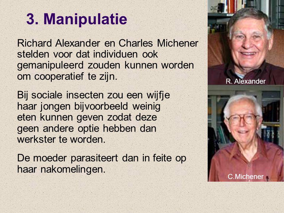 3. Manipulatie Richard Alexander en Charles Michener stelden voor dat individuen ook gemanipuleerd zouden kunnen worden om cooperatief te zijn. Bij so