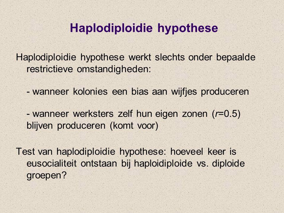 Haplodiploidie hypothese Haplodiploidie hypothese werkt slechts onder bepaalde restrictieve omstandigheden: - wanneer kolonies een bias aan wijfjes pr