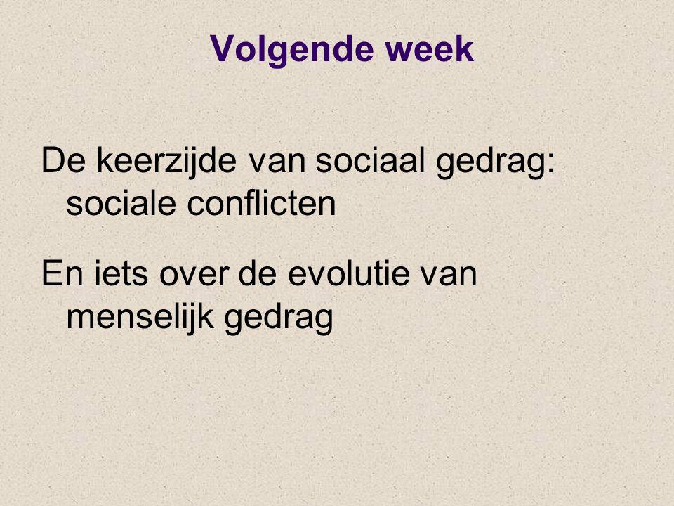Volgende week De keerzijde van sociaal gedrag: sociale conflicten En iets over de evolutie van menselijk gedrag