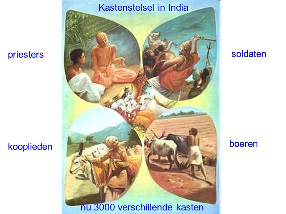 Kastenstelsel in India priesters soldaten kooplieden boeren nu 3000 verschillende kasten