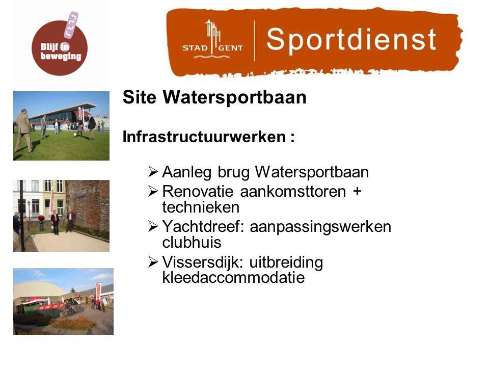 Site Watersportbaan Infrastructuurwerken :  Aanleg brug Watersportbaan  Renovatie aankomsttoren + technieken  Yachtdreef: aanpassingswerken clubhuis  Vissersdijk: uitbreiding kleedaccommodatie