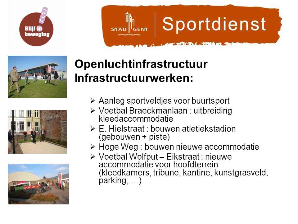 Openluchtinfrastructuur Infrastructuurwerken:  Aanleg sportveldjes voor buurtsport  Voetbal Braeckmanlaan : uitbreiding kleedaccommodatie  E.