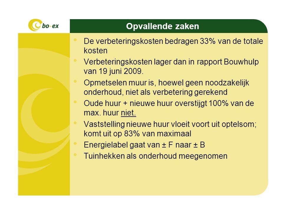 Voorstel Doorgaan met uitwerken van de renovatie Nieuwe huur vaststellen in termen van % van de maximale huur Uitzondering: individuele opties, en de collectieve optie voor de bovenwoningen Plattegrond aanpassing collectief: Bo-Ex neemt 50% van de kosten.