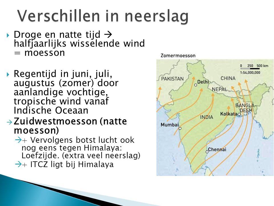  Droge en natte tijd  halfjaarlijks wisselende wind = moesson  Regentijd in juni, juli, augustus (zomer) door aanlandige vochtige, tropische wind v