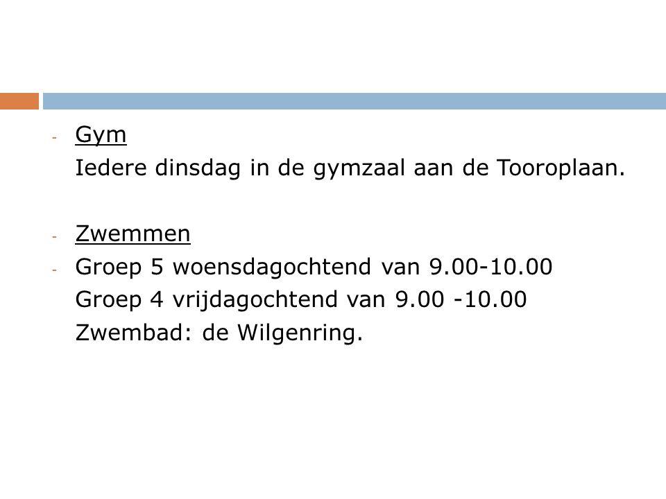 - Gym Iedere dinsdag in de gymzaal aan de Tooroplaan.