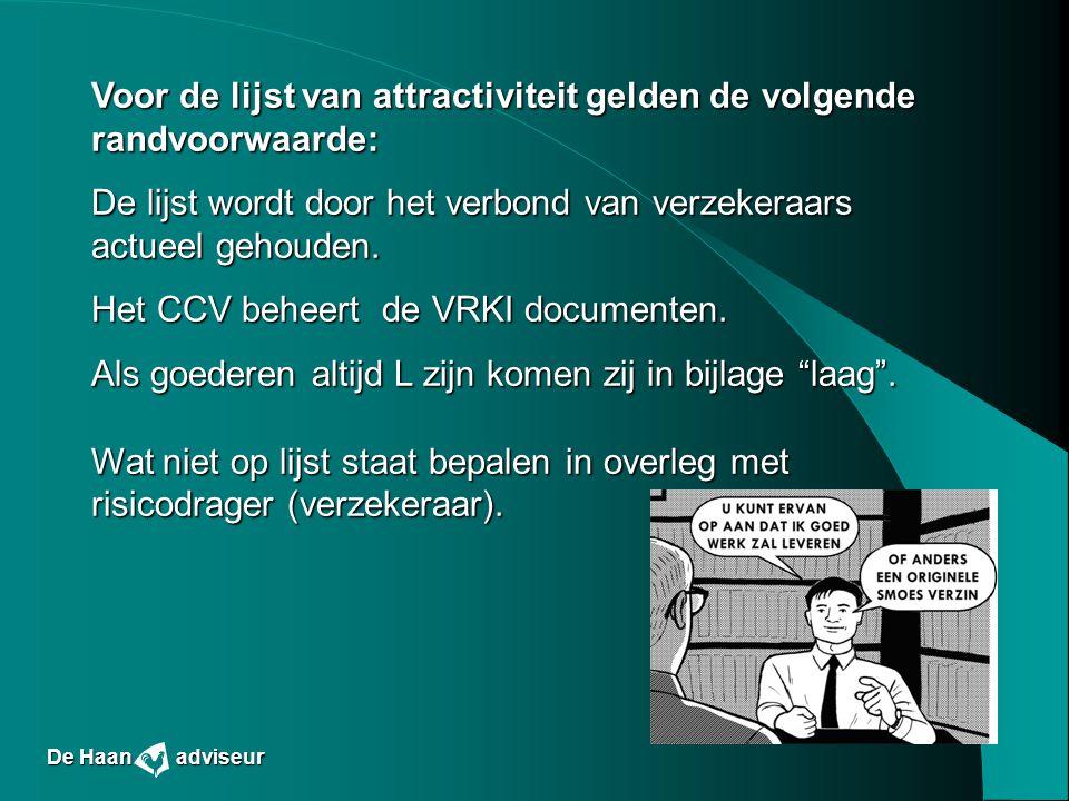 Voor de lijst van attractiviteit gelden de volgende randvoorwaarde: De lijst wordt door het verbond van verzekeraars actueel gehouden. Het CCV beheert