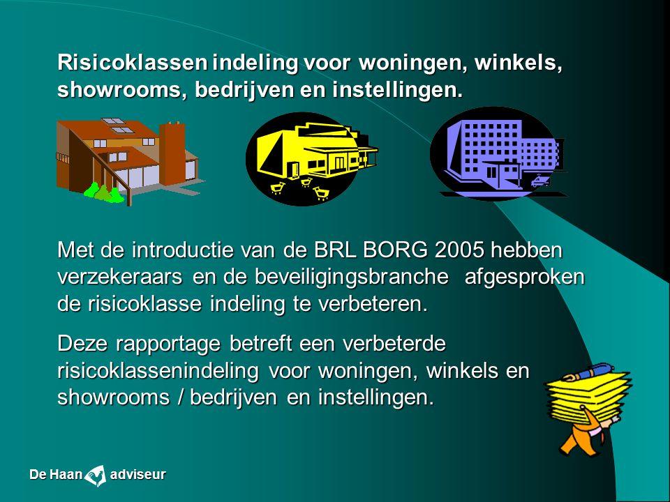 Risicoklassen indeling voor woningen, winkels, showrooms, bedrijven en instellingen. Met de introductie van de BRL BORG 2005 hebben verzekeraars en de