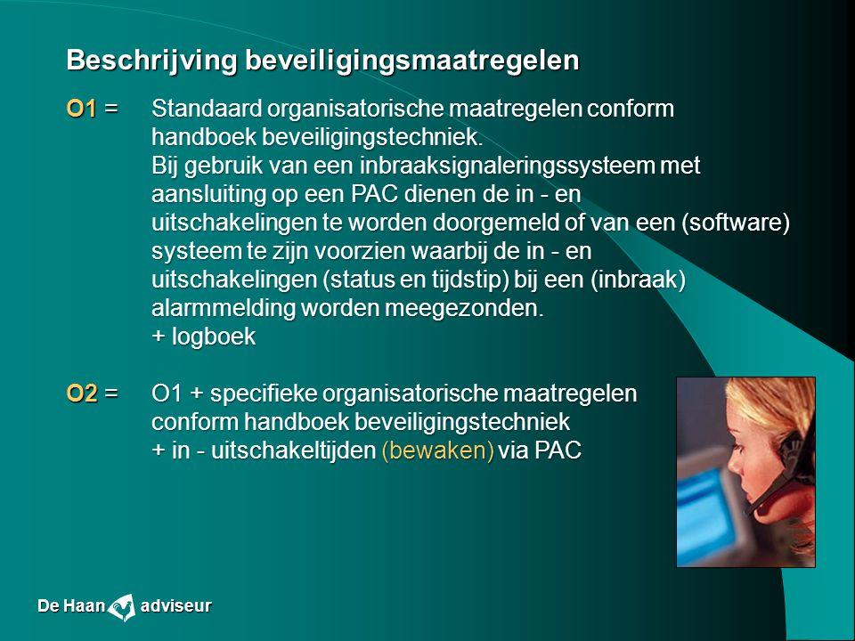 Beschrijving beveiligingsmaatregelen O1 = Standaard organisatorische maatregelen conform handboek beveiligingstechniek. Bij gebruik van een inbraaksig