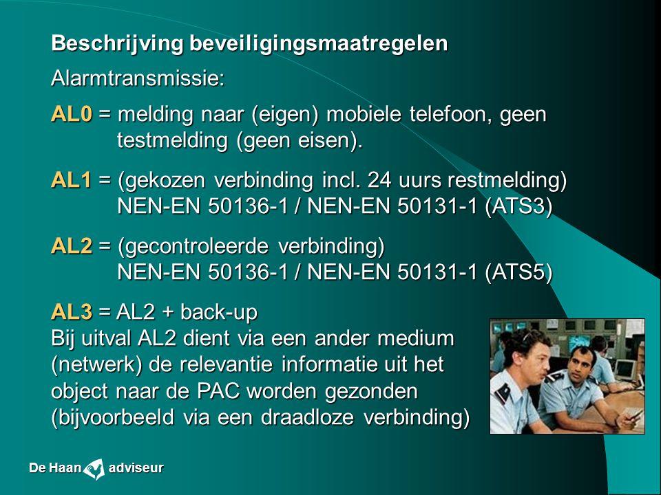 Beschrijving beveiligingsmaatregelen Alarmtransmissie: AL0 = melding naar (eigen) mobiele telefoon, geen testmelding (geen eisen). AL1 = (gekozen verb